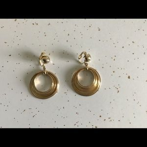 Vintage Clip-On Hoops, Gold like Finish